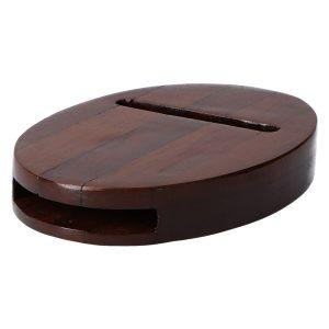 Altavoz de Madera Ovalado Oscuro para Smartphone, 100% Vegetal. Amplificador sin Consumo eléctrico. Artesano