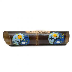 Altavoz bambú pintado Yin Yang Moon Sun Blue
